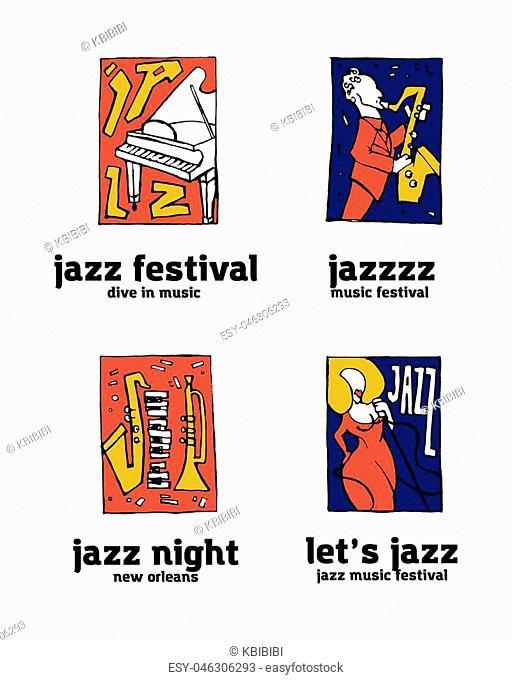 Jazz music festival logo set. Naive shabby style. 2d vector illustration