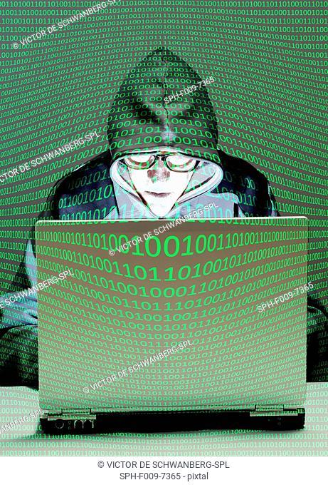 MODEL RELEASED. Computer hacker, composite image