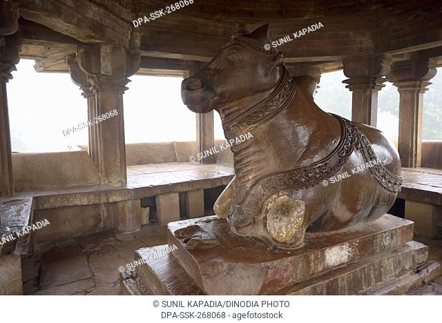 Nandi pavilion opposite Vishwanath temple Khajuraho Madhya Pradesh India Asia
