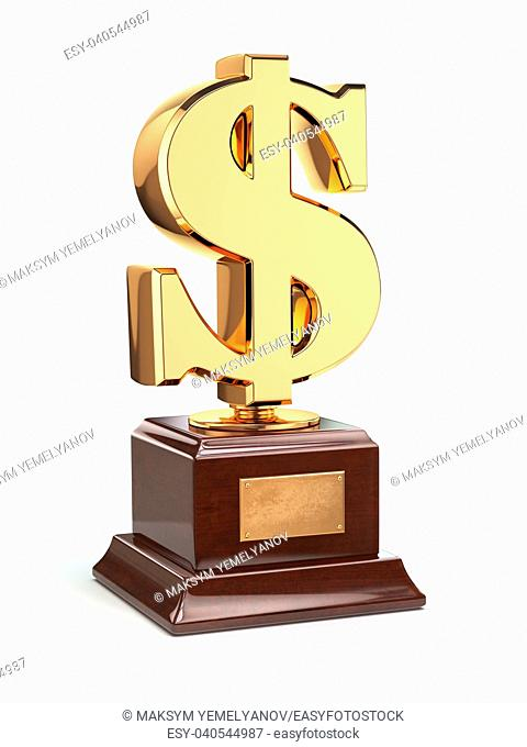 Golden dollar sign trophy isolated on white. 3d