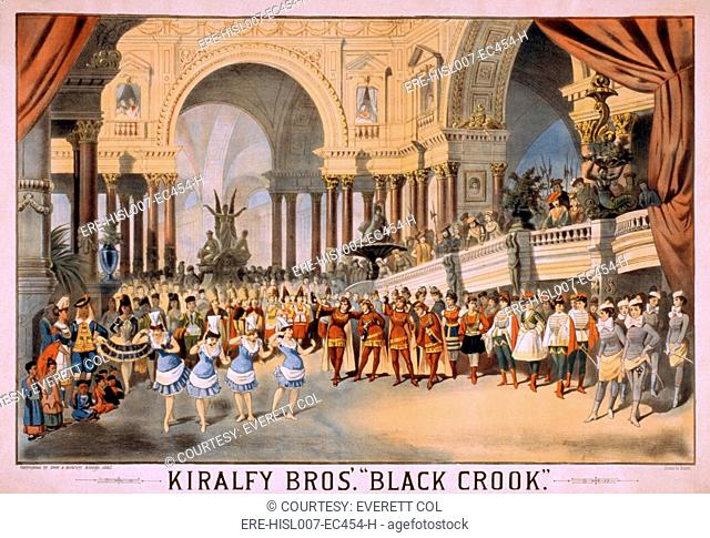 BLACK CROOK's was first produced in New York in 1866. The production included a hundred ballet dancers in flesh colored tights