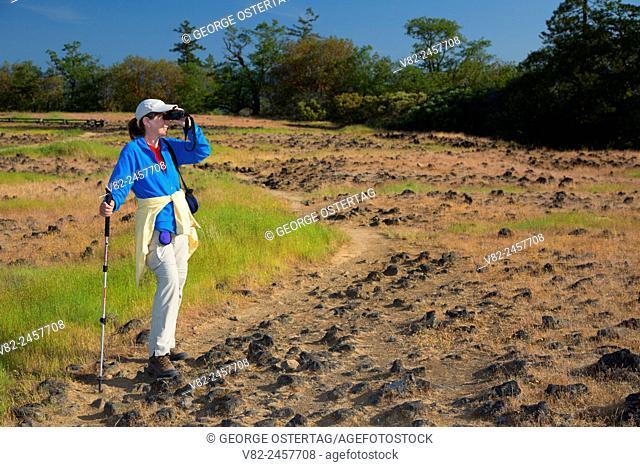 Birding on grassland plateau, Upper Table Rock Preserve, Medford District Bureau of Land Management, Oregon