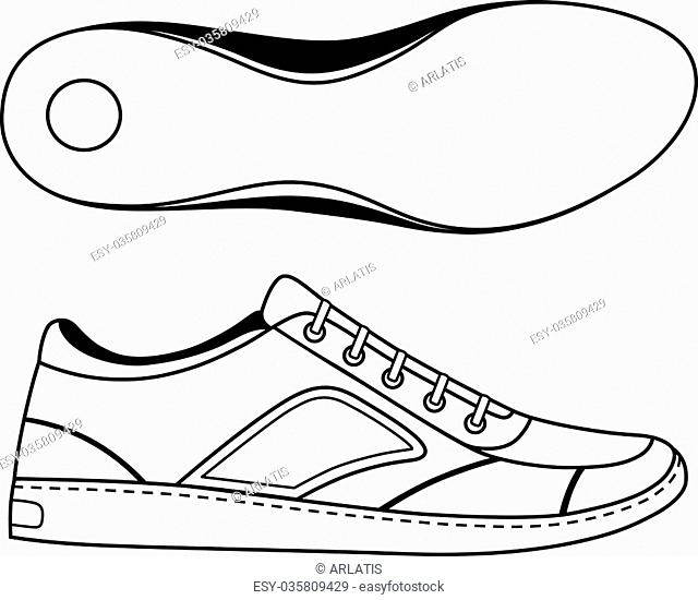 Black outlined sneakers shoe & sole, vector illustration isolated on white background