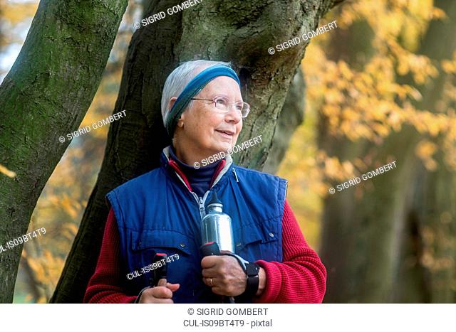 Senior woman resting from walk in park