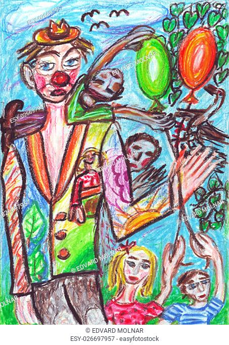 Oil pastel painting of a clown and kids