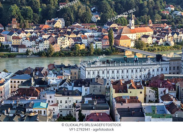 Top view of the typical buildings and houses set among green hills and river Passau Lower Bavaria Germany Europe