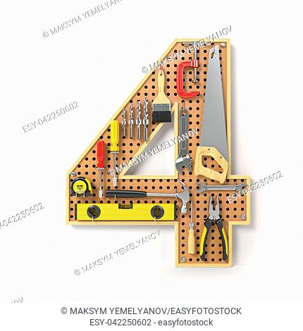 Number 4 four. Alphabet from the tools on the metal pegboard isolated on white. 3d illustration