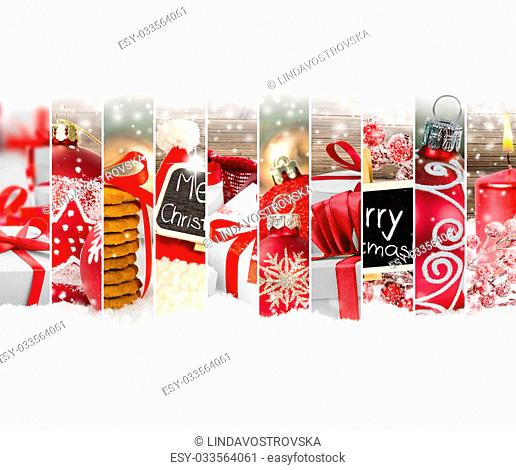 Photo of red Christmas mix with gifts and Christmas balls; white space for text
