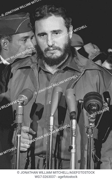USA Washington DC -- 1959 -- Fidel Castro speaks to journalists after arriving at Washington DC airport, USA during a 1959 visit to the United States -- Picture...