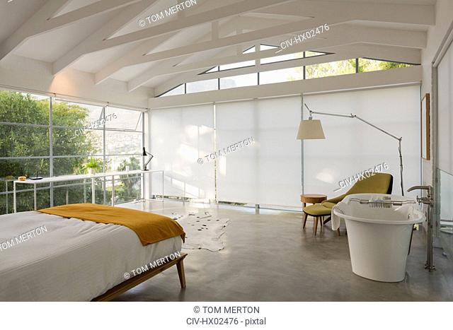 Modern, minimalist home showcase interior bedroom with vaulted ceiling