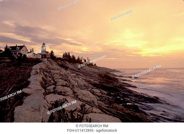 lighthouse, sunrise, sunset, Maine, Pemaquid Point, Bristol, ME, Pemaquid Head Light at sunrise along the rocky coastline of the Atlantic Ocean