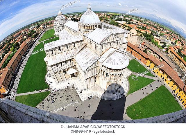 Campo de Miracoli with fisheye from the Campanile Tower of Pisa