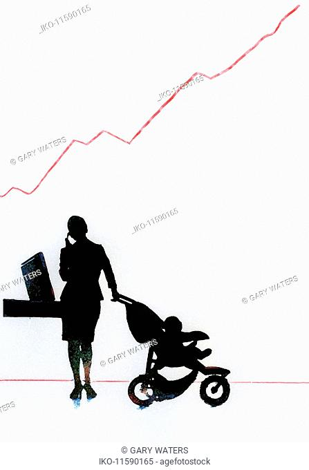 Businesswoman with baby in stroller talking on cell phone below red line on graph