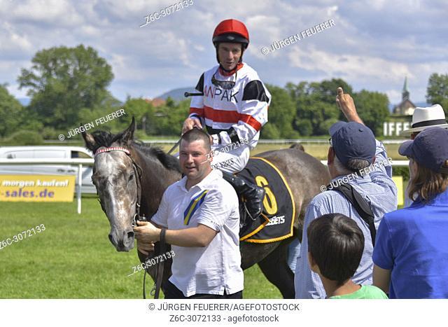 Horse Race Baden-Baden, 2nd June, 2018, Baden Racing of the Spring Event, winner Adrie de Vries with Anpak, race Preis der Buhlschen Mühle
