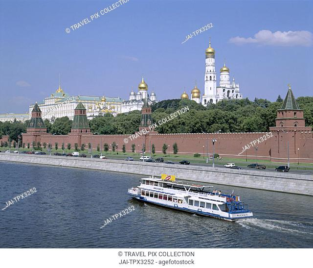 The Kremlin & Moskva River with Tourist Boat, Moscow, Russia