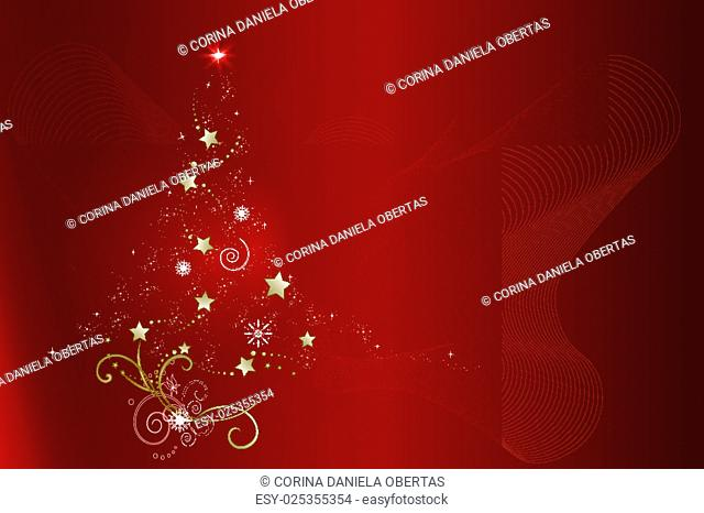 Abstract Christmas tree on red background, vector illustration