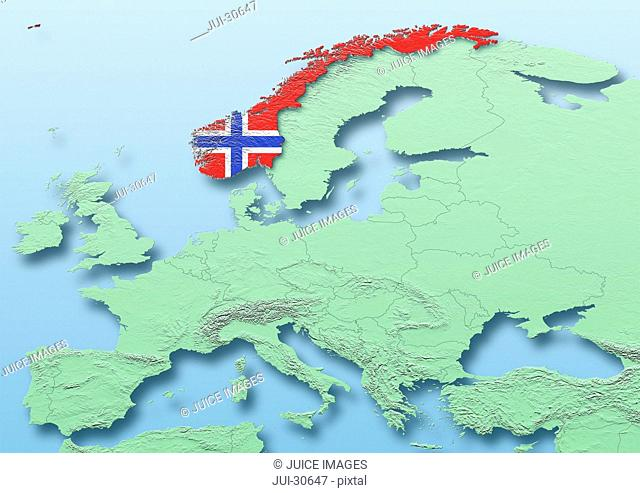 Norway, flag, map, Western Europe, green, blue, physical, political