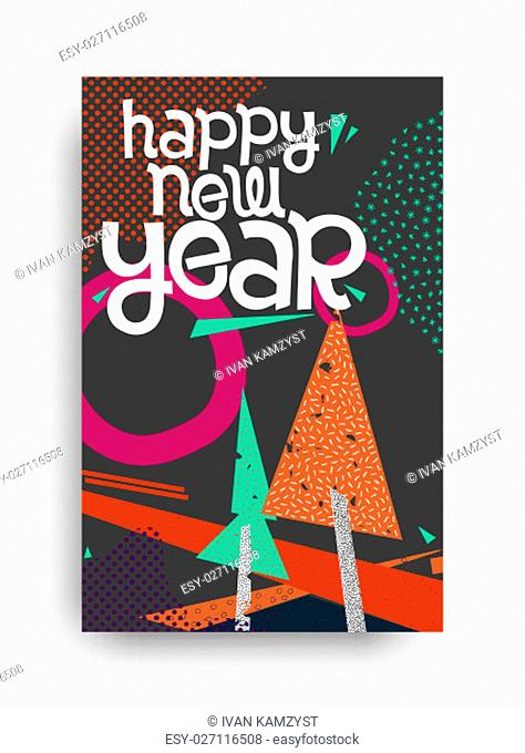 Color Happy New Year greeting card. Vector decorative grunge poster. Winter holiday design illustration