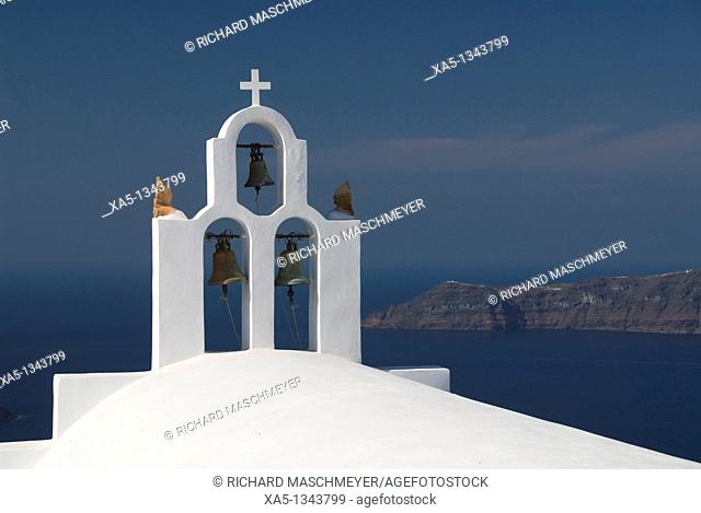 Greek Orthodox Church with bell tower, Firostefani, Santorini, Greece