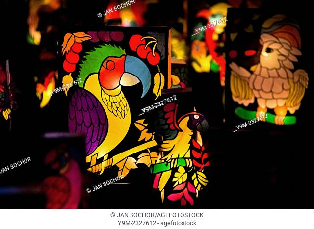 Colorful paper lanterns, depicting birds from tropical rainforests of Amazonia, are seen shining on the street during the annual Festival of Candles and...