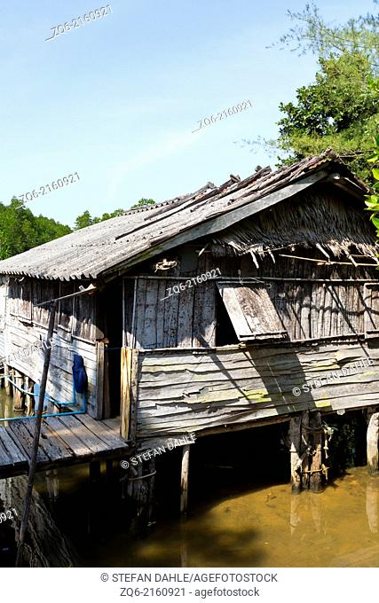 Wooden House in the Fishing Village Salak Kokh on Ko Chang, Thailand
