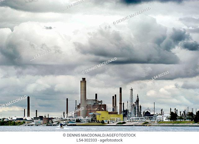 Storm clouds over power facility