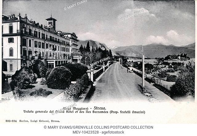 View of Stresa on Lake Maggiore, Italy with the Grand Hotel and Borromee Island