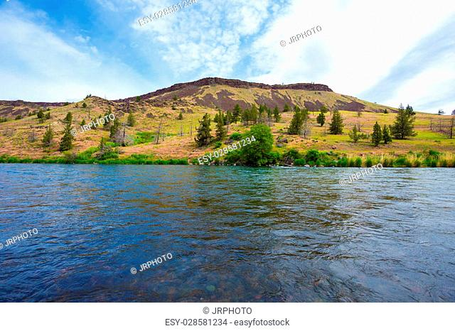 Nature scenic from the Lower Deschutes River wild and scenic canyon section on the water