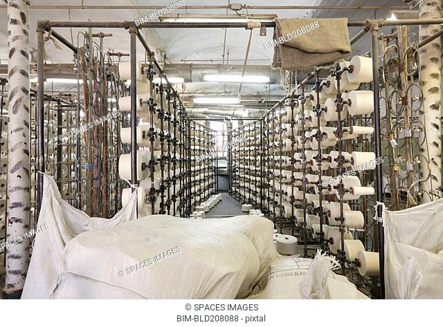 Spools in textile factory