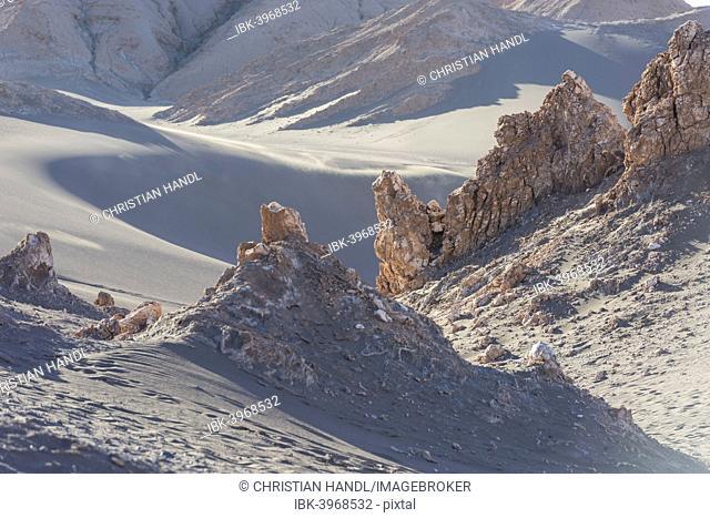Sand and rock formation in the Valle de la Luna or Valley of the Moon, San Pedro de Atacama, Antofagasta Region, Chile