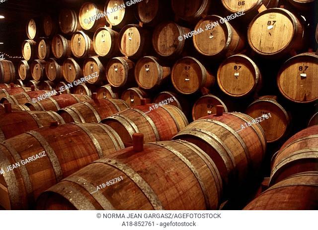 Wine barrels in St  Helena, California, USA