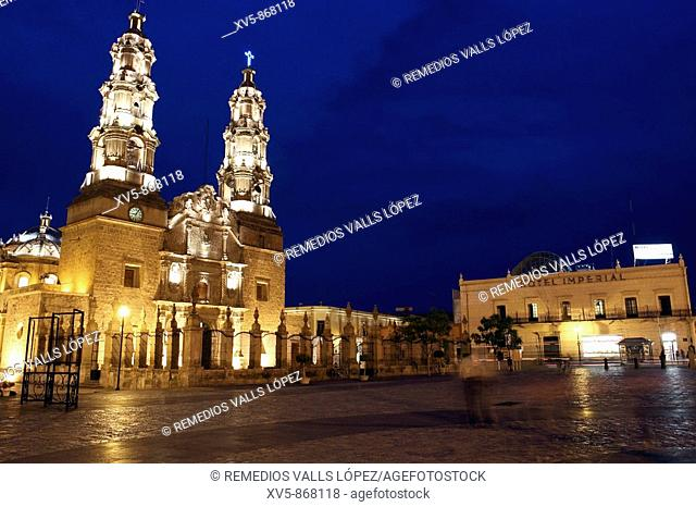 Mexico. Aguascalientes. Colonial city. Cathedral at main square