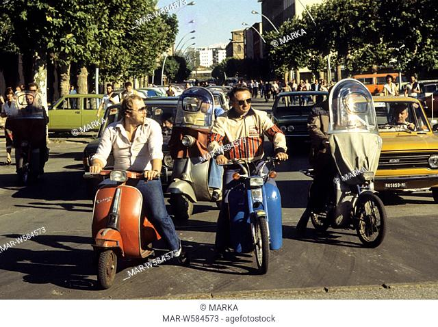 traffic in milan, lombardia, italy, 70's