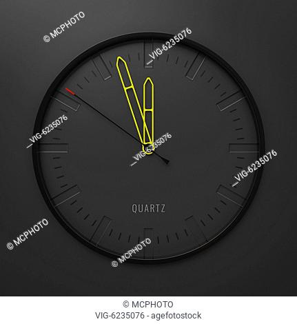 3d illustration of a modern stylish clock with yellow pointers - 01/01/2018