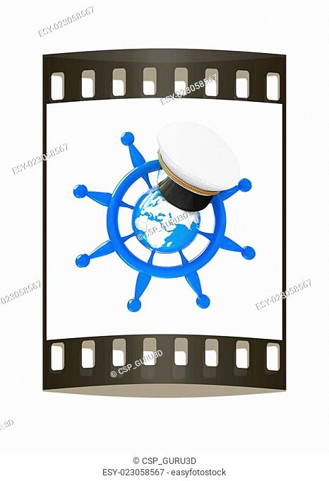 Steering wheel with Earth, and marine cap . Trip around the world concept. The film strip