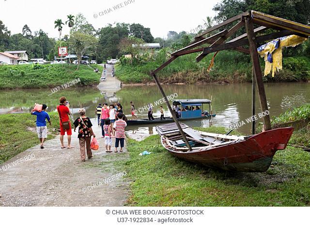Ferry crossing in Siniawan Bazaar, Sarawak, Malaysia