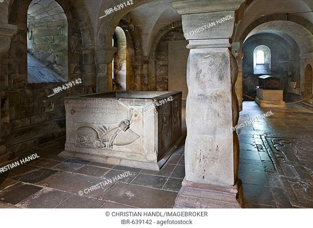 Tomb in the Romanesque crypt at Lund Cathedral dating to the twelfth-century, Lund, Scania, Sweden, Scandinavia, Europe