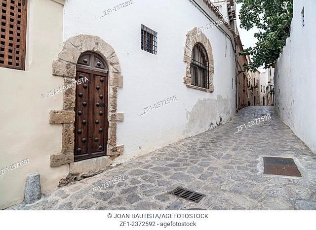 Street in Dalt Vila,Ibiza,Eivissa,Balearic Islands,Spain
