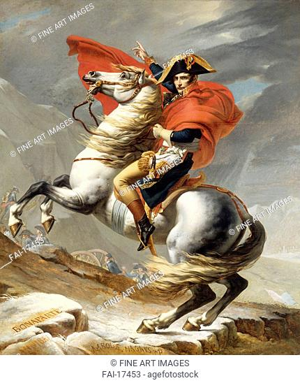 Bonaparte Crossing the Grand Saint-Bernard Pass, 20 May 1800. David, Jacques Louis (1748-1825). Oil on canvas. Classicism. 1800