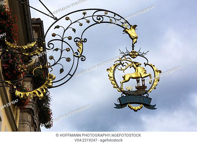 Old Iron Craftship sign in Rothenburg ob der Tauber, Bavaria, Germany, Europe