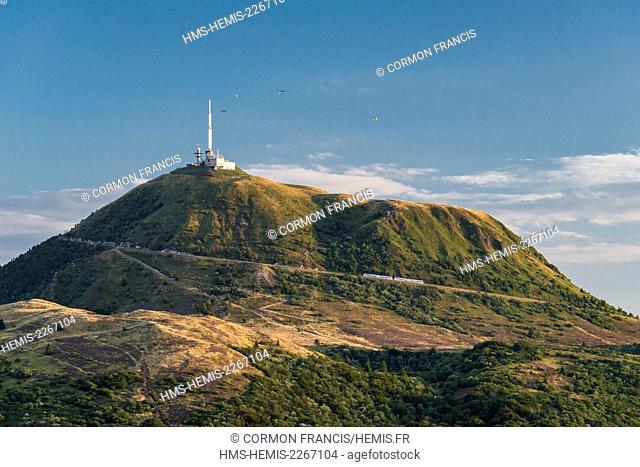 France, Puy de Dome, Orcines, Chaine des Puys, Regional Natural Park of the Auvergne Volcanoes, the Puy de Dome volcano (aerial view)