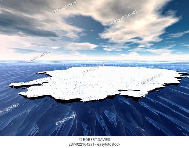 Broken Ice Sheet Floating in Open Ocean