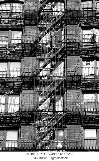 Fire escape on a building facade in Manhattan