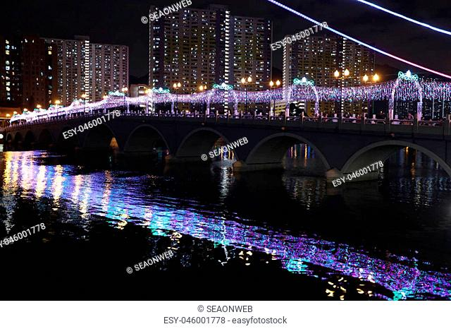 the Shing Mun River with Christmas decoration at Shatin
