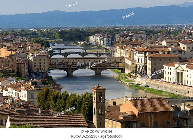 View on Florence with river Arno and bridge Ponte Vecchio Tuscany Italy