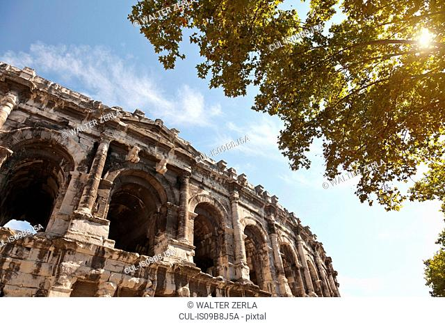 Low angle detail of Arena of Nimes, Nimes, Languedoc-Roussillon, France