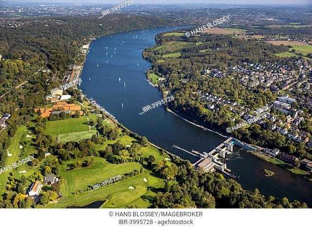 Sailboats on the Baldeneysee reservoir, Essen, Ruhr district, North Rhine-Westphalia, Germany