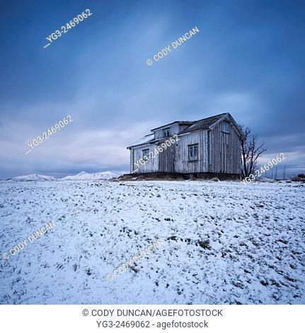 Abandoned house in winter, Vestvågøy, Lofoten Islands, Norway