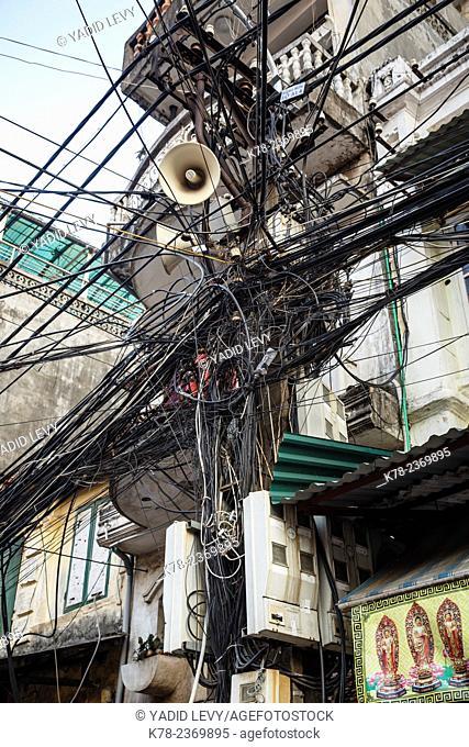 Electric pole in the old quarterHanoi, Vietnam