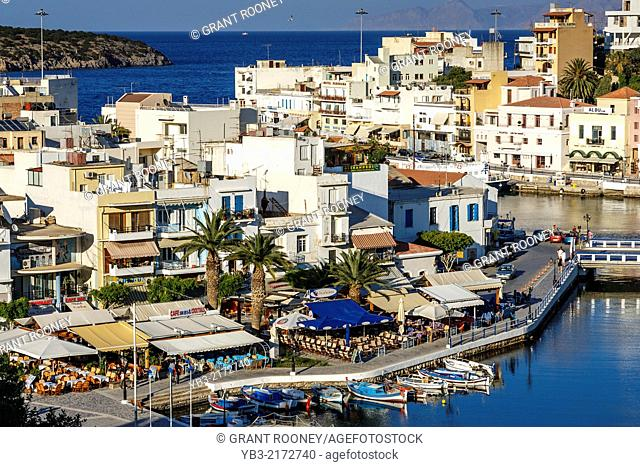 A View of The Town of Agios Nikolaos, Crete, Greek Islands, Greece